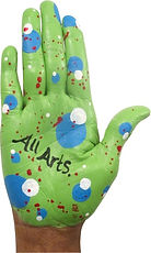 Colorful painted hand that reads ALL ARTS in black paint.