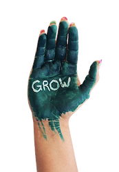 Dark green painted hand with the word GROW painted in white
