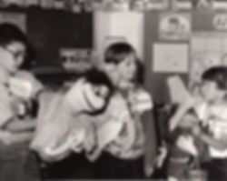 An early black and white photo of an Artists Creating Together program back when the organization was known as the VSA Arts of Grand Rapids-Michigan