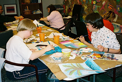 A colored photograph of a watercolor program of ACT's early years as an independent nonprofit organization
