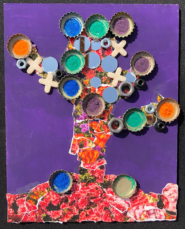 Collage made up of magazine pages, bottle caps, mirrors, and nuts. In the shape of a tree with a purple background.