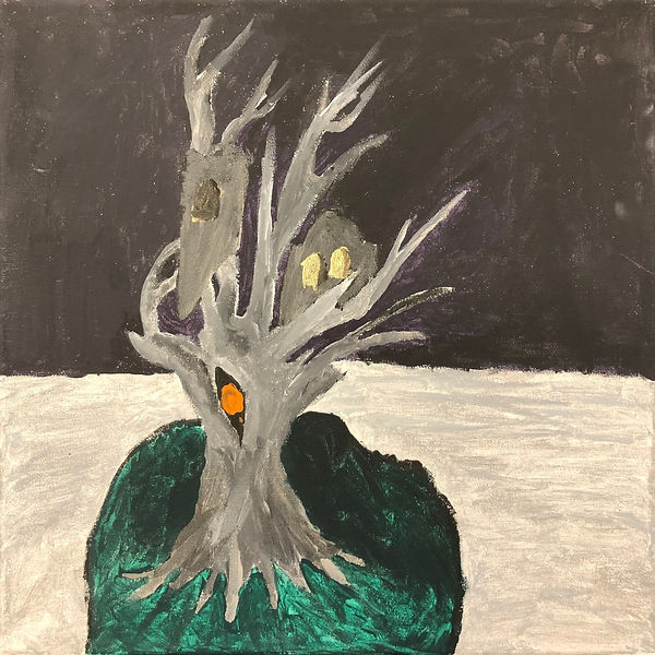 Painting of a silver tree. Black background and silver in the middle of the canvas.
