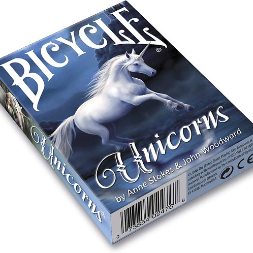 Unicorns (Blue) by Anne Stokes - Bicycle Playing Cards