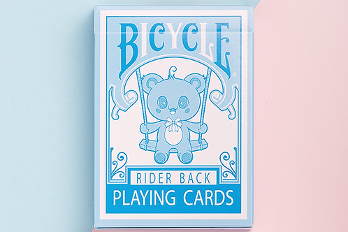 Lovely Bear Light Blue Bicycle Playing Cards Deck