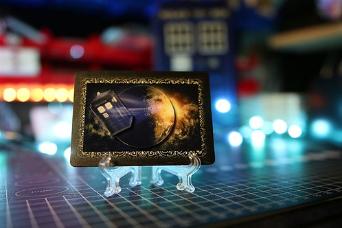 Doctor Who TARDIS Flying thru Space -  3D Art Card