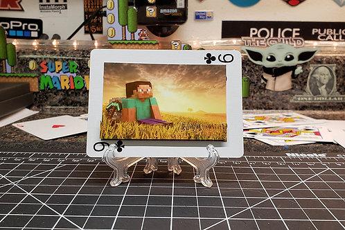Minecraft Sunset over field - 3D Art Card