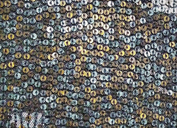 Multi-colour sequin hand-embroidered fabric