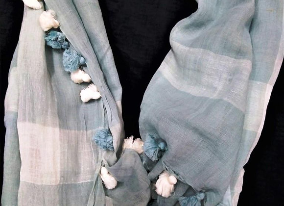 Look of light blue & white cotton scarf