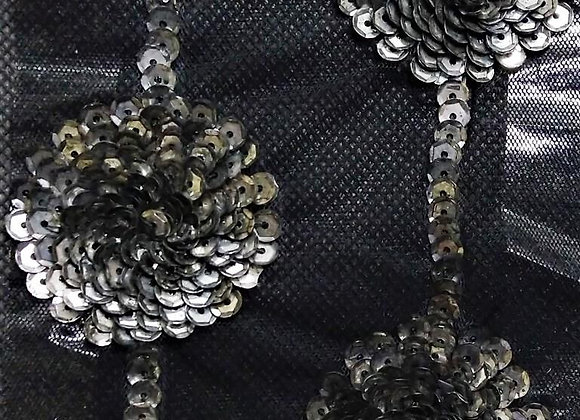 Hand-embroidered fabric with silver-grey floral sequins
