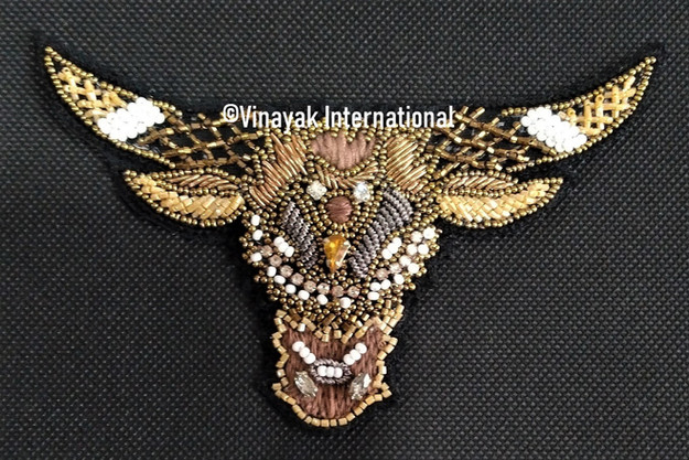Bull Motif with crystals and embroidery