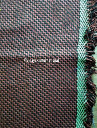 Brown Black silk fabric with Green border and fur