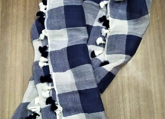 Look of grey and nacy handmade scarf