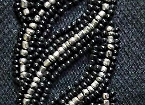 Close-up of Silver & Black hand-beaded trim