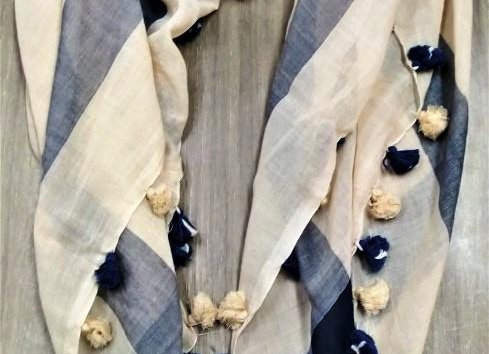 Look of off-white and blue-grey cotton scarf