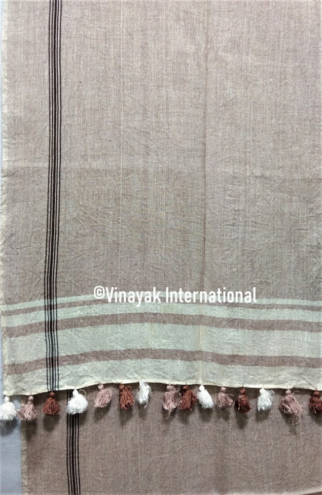 Grey and white stole with brown and white tassels