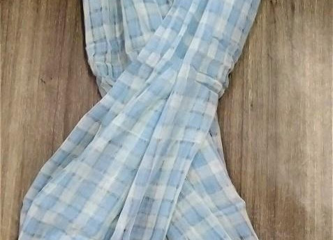 Look of light blue chequered cotton scarf