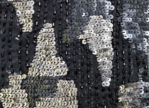 Abstract silver & metallic grey sequins on hand-embroidered fabric