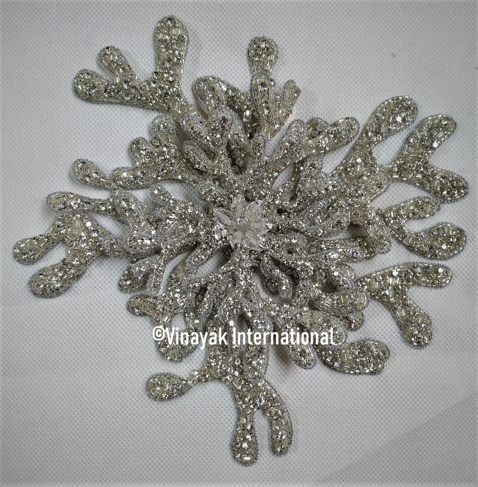 Silver Crystal Snowflake Motif