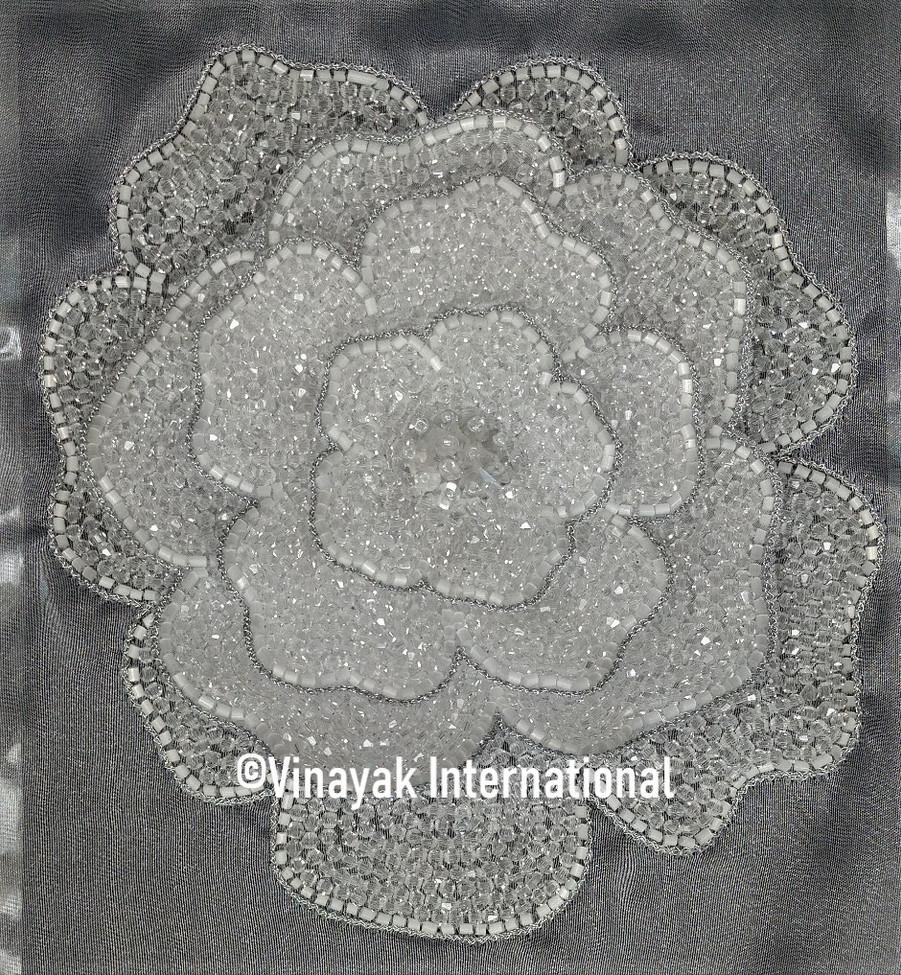 Silver Crystal Flower Motif
