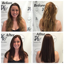 Before & After Color and Haircut by Stylist Indira at David Ezra Sal