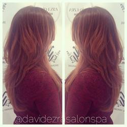Beautiful Long Layered Haircut by stylist Lana at David Ezra Salon &