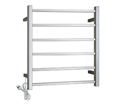 Chrome Square Heated Towel Rack 6 Bars