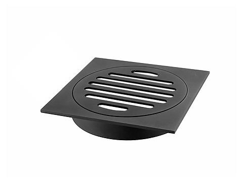 Square Floor Grate 100mm Outlet - Matte Black
