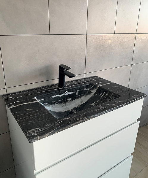 Black Marble Effect Vanity Top 750mm