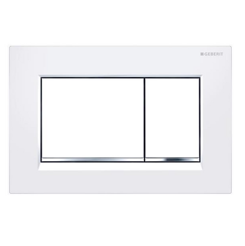 Geberit White/Chrome Rectangle Wall Button