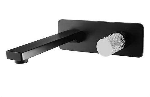 The Gabe Wall Spout Mixer - Matte Black   Chrome