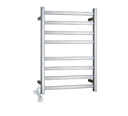 Chrome Square Heated Towel Rack 8 Bars