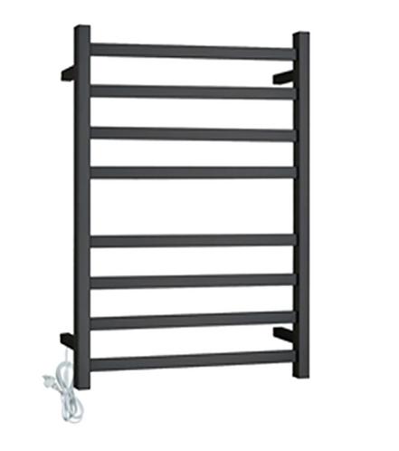 Matte Black Square Heated Towel Rack 8 Bars