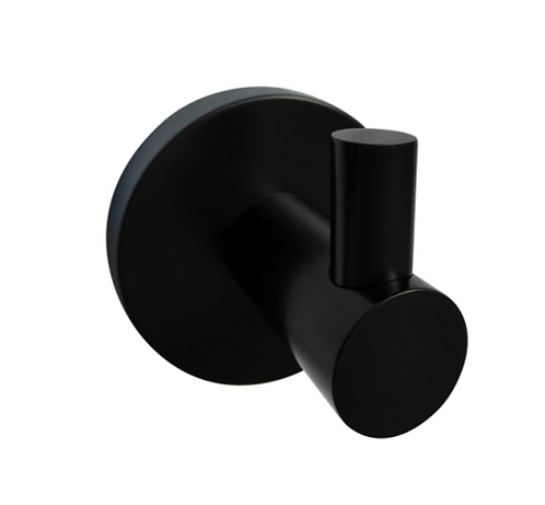 Matte Black Round Single Robe Hook