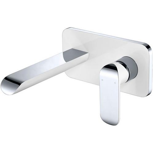 Ikon Chrome/White Wall Basin Mixer