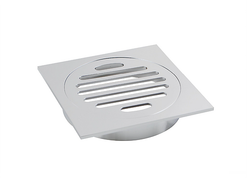 Square Floor Grate 100mm Outlet - Chrome