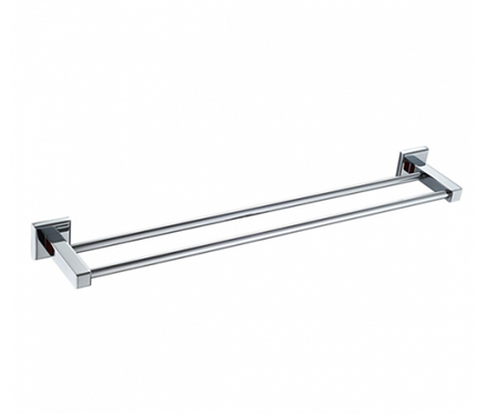 Chrome Square Double Towel Rail 600mm