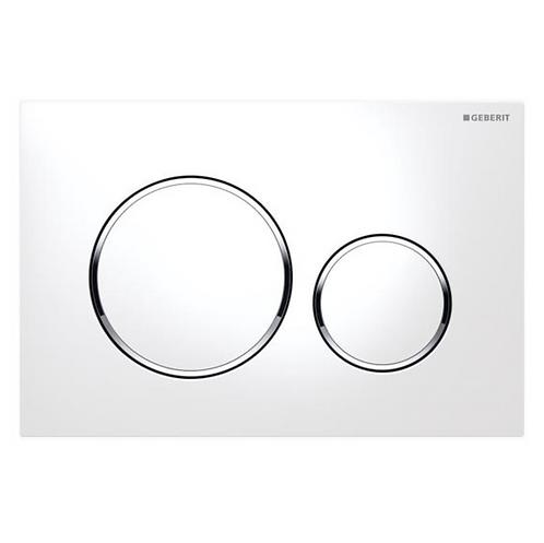 Geberit White/Chrome Round Wall Button