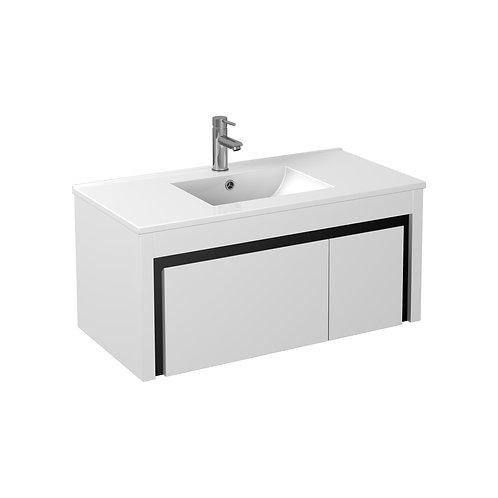 900 Black Strip/White PVC Vanity with Ceramic Top