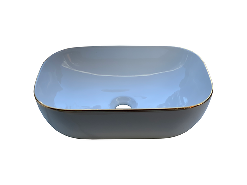 Rectangular Basin with Gold Rim