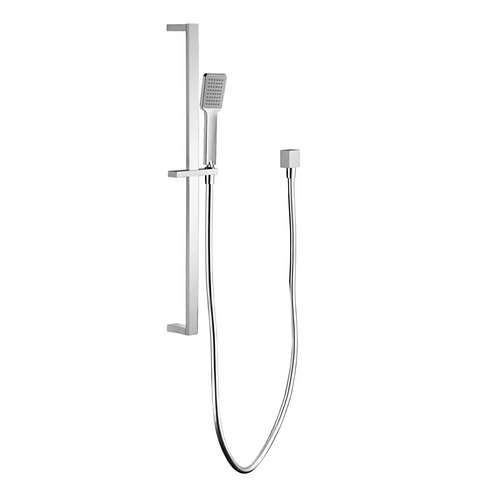 Chrome Square Sliding Shower Rail with Handheld Shower