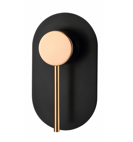 Matte Black/Rose Gold Round Wall Shower Mixer