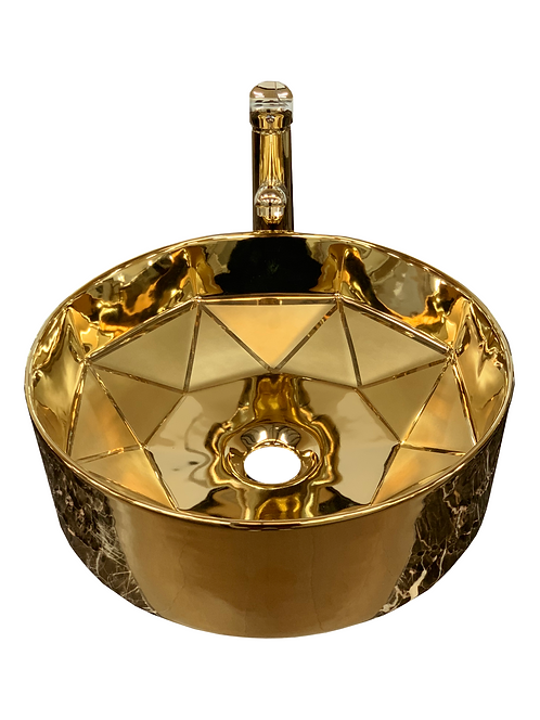 Circular Art Basin with Art Gold finish