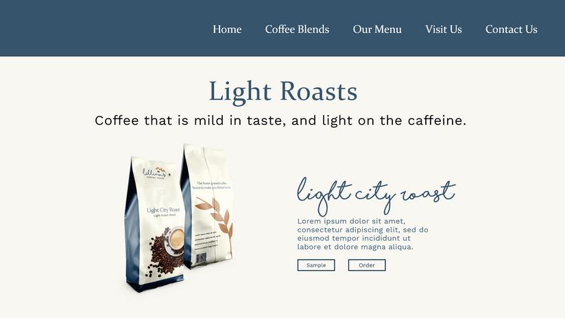 Website Concept - Light Roasts Page