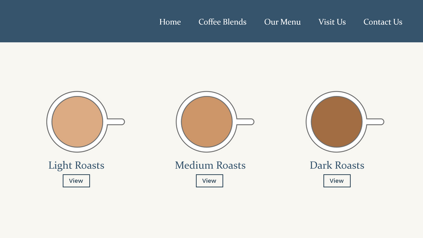 Website Concept - Coffee Blend Options