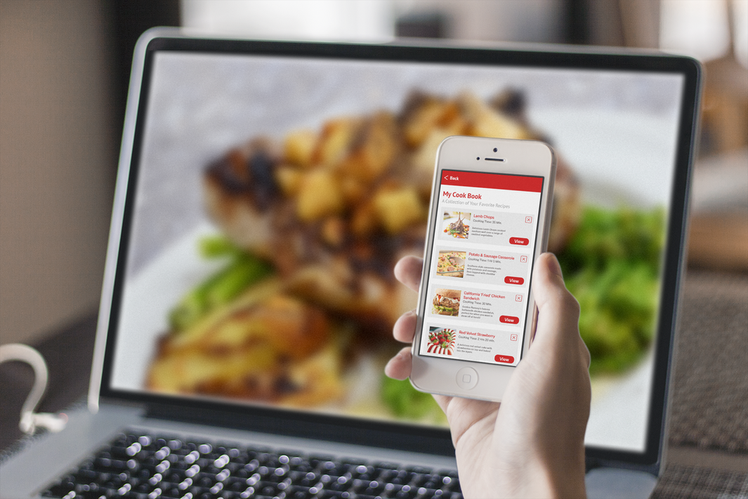 Concept - User saving a recipe on the app