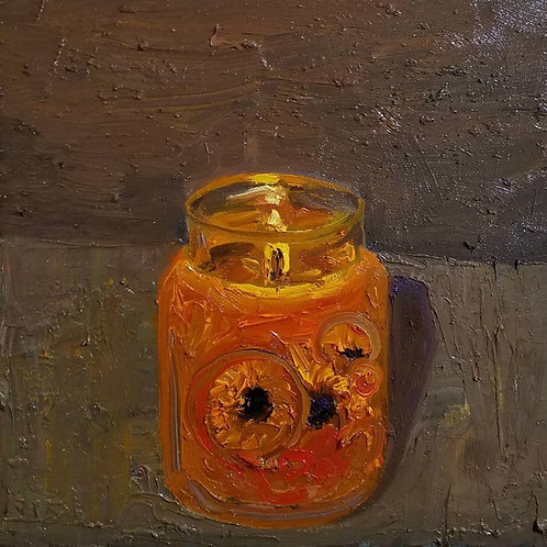 Candle with Sun Flowers