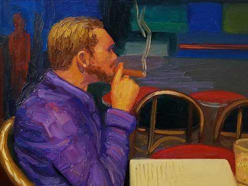 Self Portrait 10-15-18, Cigar in Paris-Sold