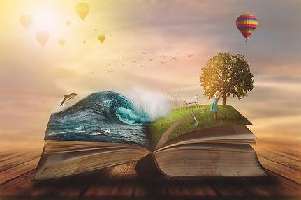 conceito-de-livro-mágico-aberto-páginas-abertas-com-oceano-e-terra-crianças-pequenas-fanta