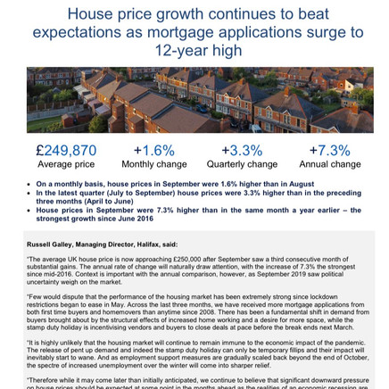 Halifax House Price Index 07/10/2020