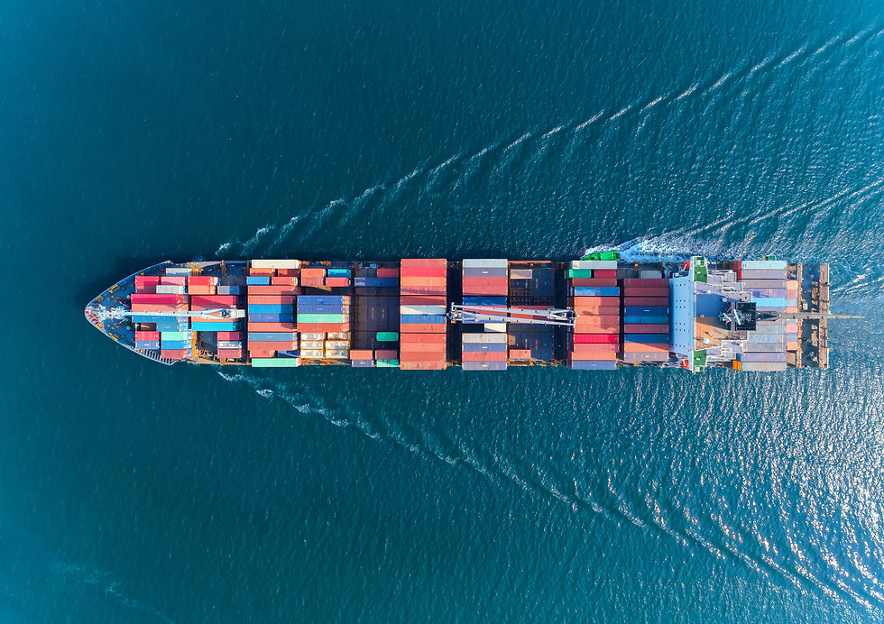 Aerial top view container ship with cran